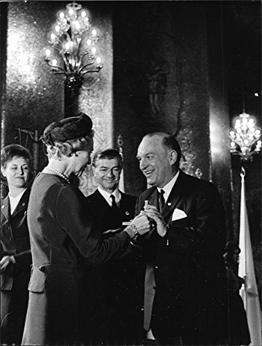 Vintage photo of Princess Sibylla surrender the gold medal to the Secretary General Henrik Beer at the Red Cross 100 years anniversary