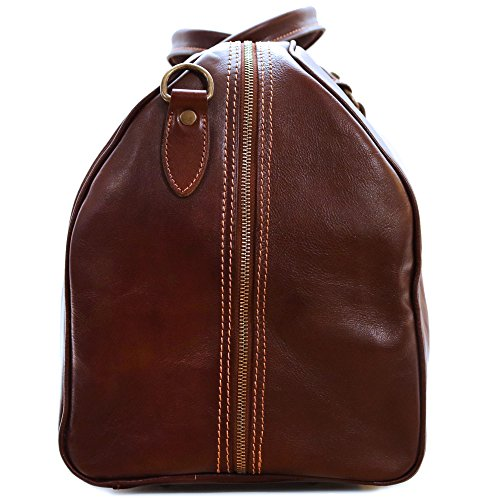 Cenzo Duffle Vecchio Brown Italian Leather Weekender Travel Bag by Cenzo (Image #2)