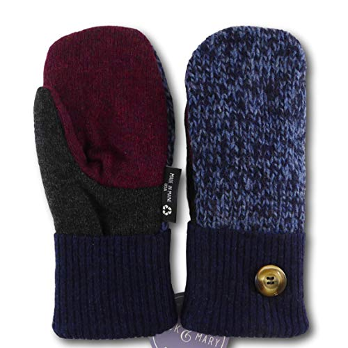 Jack & Mary Designs Handmade Kids Fleece-Lined Wool Mittens, Made from Recycled Sweaters in the USA (blue/maroon/gray, Large)