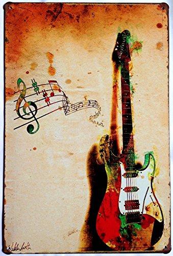 ERLOOD Music Poster Guitar Retro Metal Vintage Decor Tin Signs 12