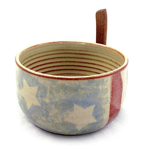 Old Glory American Handmade Stoneware Pottery Dip Bowl with Spreader (USA/American Flag Motif)