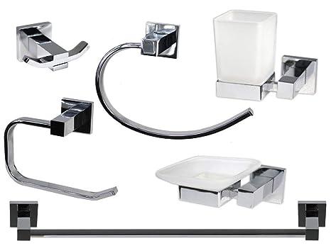Vetrineinrete® Set Bagno Moderno Quadrato in Acciaio Cromato e Vetro ...