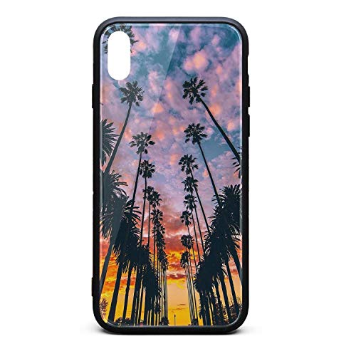 Best Phone Case for iPhone X Beach Tumblr Palm Rubber Frame Tempered Glass Covers Personality Shock-Absorbing Skid-Proof Never Fade Cell Cases Printted