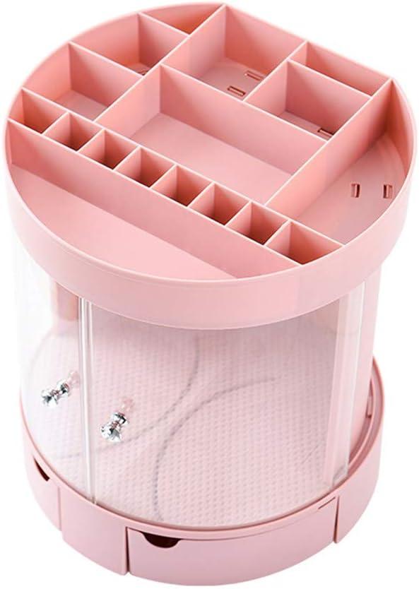 Shounadai Caja de Almacenamiento de cosmética con Puerta corredera Estante para lápices de Labios de Escritorio de plástico Creativo Caja de Acabado de joyería de Polvo de baño (Color : Pink)