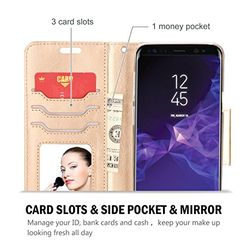 ProCase Galaxy S9 Plus Wallet Case, Flip Fold Kickstand Case with Card Holders Mirror, Folding Stand Protective Book Case Cover for 6.2 Inch Samsung Galaxy S9+ (2018 Release) – Black by ProCase (Image #2)