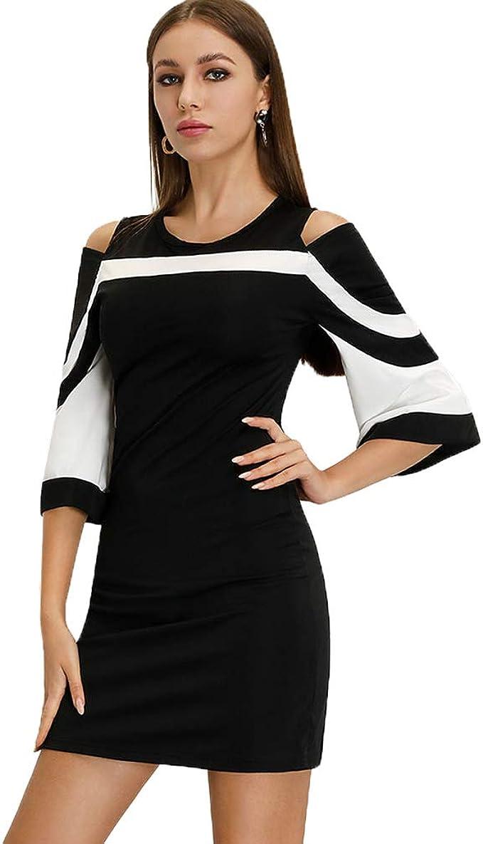 Floryday Damen 18/18 Glockenärmel T Shirt Kleid Schwarz Weiß