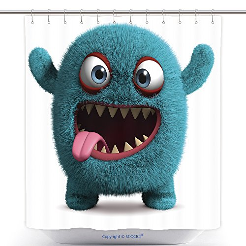 Furry Costumes Ebay (Antibacterial Shower Curtains Cute Furry Monster 104553236 Polyester Bathroom Shower Curtain Set With Hooks)