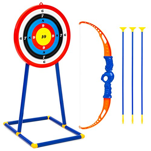 Best Choice Products Indoor/Outdoor Archery Play Set with 3 Suction-Cup Arrows, Target and Stand