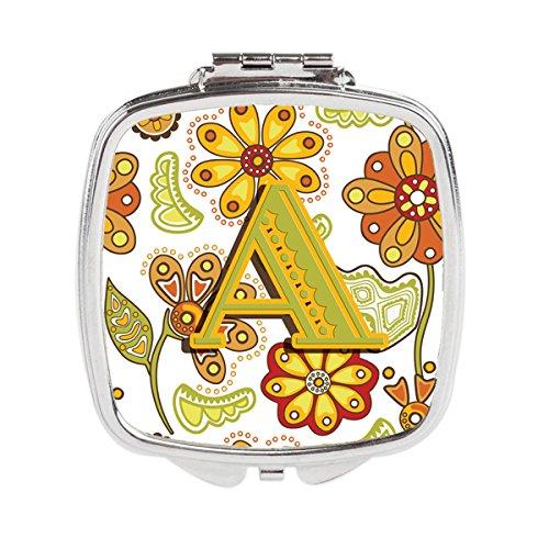 Caroline Mirror - Carolines Treasures CJ2003-ASCM Letter a Floral Mustard & Green Compact Mirror