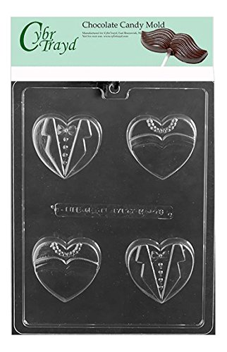 Bride Groom Cookies - Cybrtrayd Bride Groom Heart Cookie Chocolate Candy Mold in Sealed Poly Bag w/Copyrighted Molding Instructions Life of the Party W073