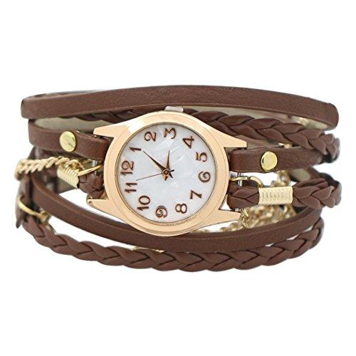 Women Weave Wrap Leather Bracelet Wrist Watch Brown - 3