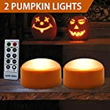 HOME MOST Halloween Pumpkin Lights with Remote and Timers - Orange Pumpkin lights LED Battery Operated Halloween Decor - Halloween Jack-O-Lantern LED light up Decoration Outdoor - Led Lights Halloween