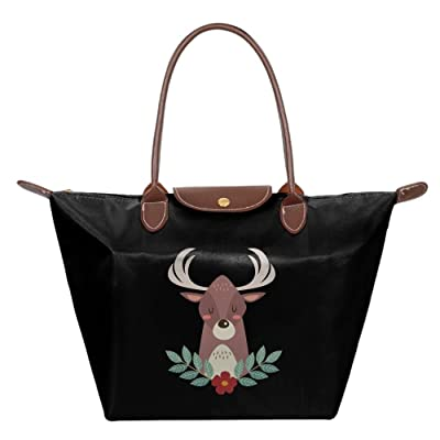 Fanboupout Deer Cartoon Large Tote Bags Multifunction Waterproof Shoulder Handbags With Zipper