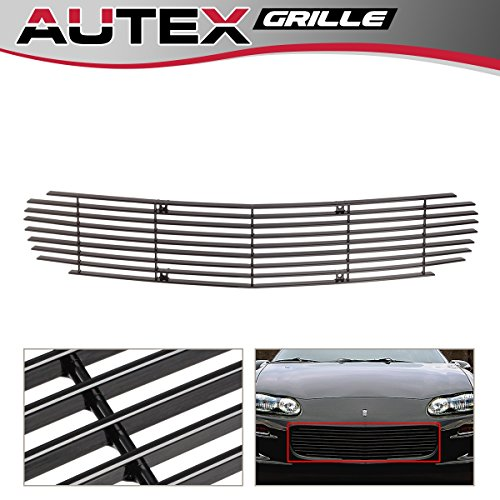 AUTEX Black Aluminum Upper Billet Grill Grille Insert C86006H Compatible With Chevrolet Camaro/Camaro SS 1998 1999 2000 2001 2002 2003