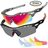 Tsafrer Polarized Sunglasses Mens Sunglasses 2 Pairs Sports Sunglasses with 4 Interchangeable Lenses Sunglasses for Men Women Sunglass