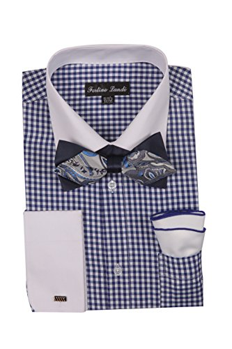 Men's Checks Shirt With High Fashion Bowtie and Handkerchief French Cuff FL628 (17 34/35, Navy)