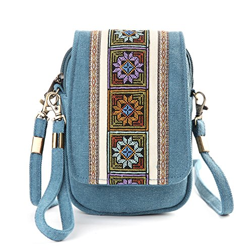 Goodhan Embroidery Canvas Crossbody Bag Cell phone Pouch Coin Purse for Women Girls (Lake Blue) by Goodhan