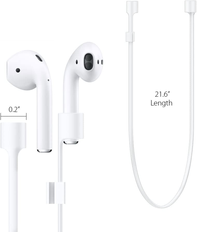 NOT Compatible with Airpods Pro Spigen RA100 Designed for AirPods Strap for Apple Airpods 1 /& 2 White