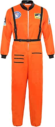 frawirshau Astronaut Costume Adult Role Play Cosplay Costumes Spaceman Flight Jumpsuit Space Suit for Men