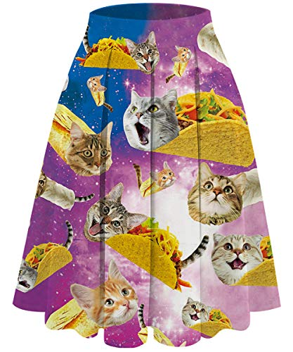 UNIFACO Women's Pleated Vintage Skirt Cat Roll Floral Print A-line Midi Skirts