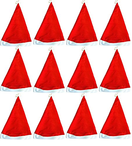 (Santa Hats for Kids Bulk 12 Pack Great Christmas Hat for Kids in Bulk Wholesale)