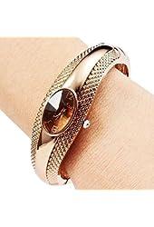 Soleasy Women's Girl's Fashion Golden Bracelet Bangle Crystal Wrist Watch WTH8050