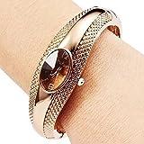 Elegant Rose Golden Oval Quartz Watch OL Lady Cuff Bangle Bracelet