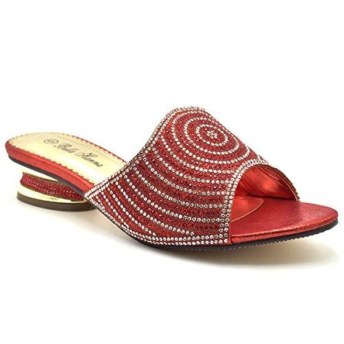 Image of Bella Hanna Women Low Heel Fashion Rhinestones Glitter Bling Open Toe Slip On Disley