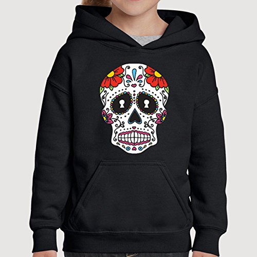 Mexican Day Of The Dead Sugar Skull Kids Children Pullover Hoodie Hooded Sweatshirt Sweater Jumper Youth