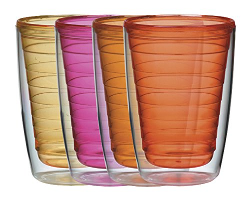 Insulated 16-Ounce Plastic Tumblers, Sunset Collection Set of 4, BPA Free, New and Improved by Boston - In New Trends Glasses