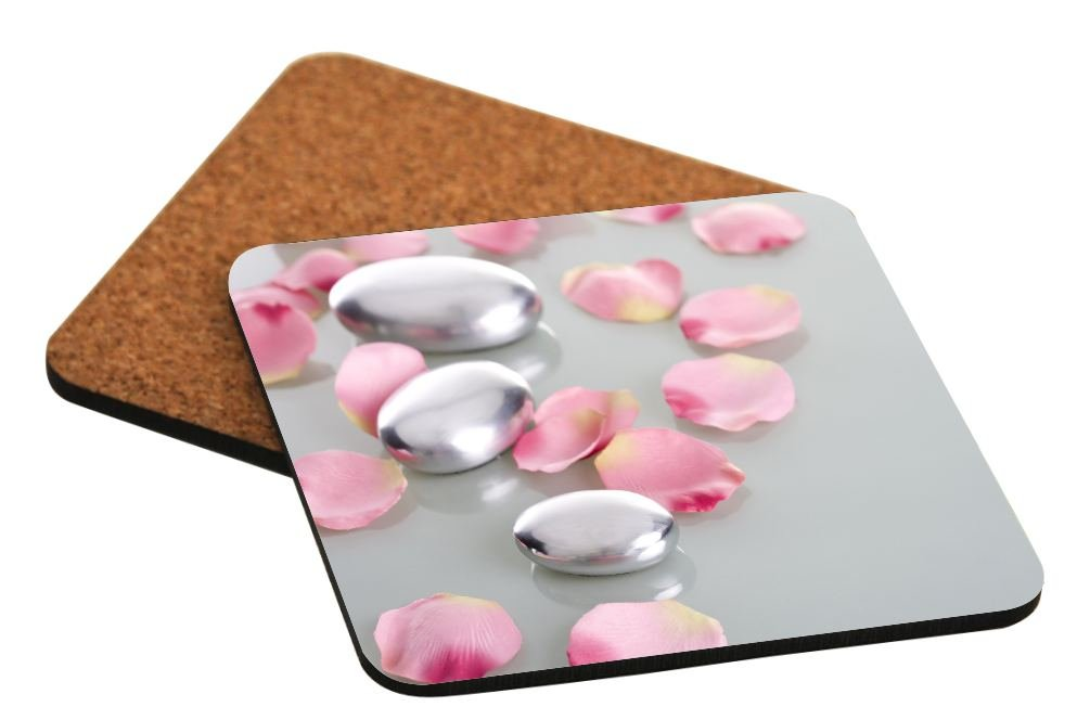 Rikki Knight Spa Stones with Rose Petals Design Square Beer Coasters