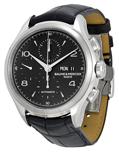 Baume-Et-Mercier-Capeland-Chronograph-Black-Dial-Black-Leather-Mens-Watch-Moa10211