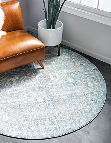 Unique Loom New Classical Collection Traditional Distressed Vintage Classic Light Blue Round Rug (6' x ()