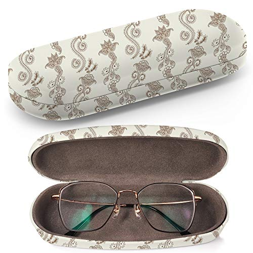 (Hard Shell Glasses Protective Case with Cleaning Cloth for Eyeglasses and Sunglasses - Henna)