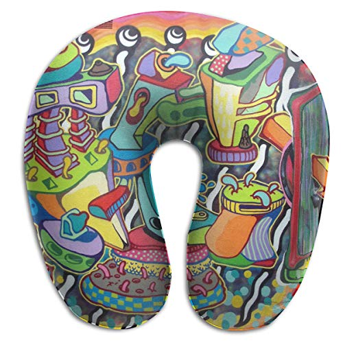 FANTASY SPACE Neck Pillow Travel Pillow Compact Abstract Graffiti Paint Pillow Neck-Supportive U Shape Pillow, Breathable & Comfortable, Travel Bus Neck Pillow Machine Washable