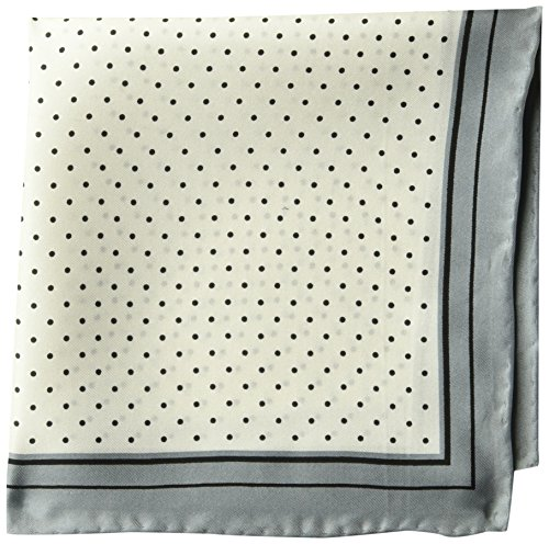 (BUTTONED DOWN Men's Classic Silk Hand Rolled Pocket Square, white dot, One Size)