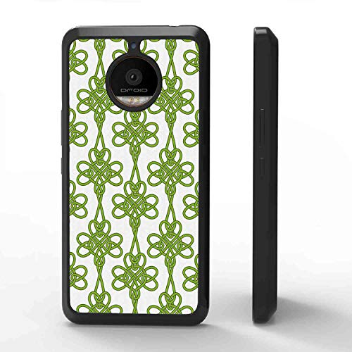 Soft Phone Case Compatible with Motorola Moto E4 Plus Irish Entangled Clover Leaves Twigs Celtic Pattern Botanical Filigree Inspired Retro Tile Green Cream