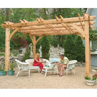 Western Red Cedar Arbor - Outdoor Living Today Breeze Western Red Cedar 10' X 12' Pergola