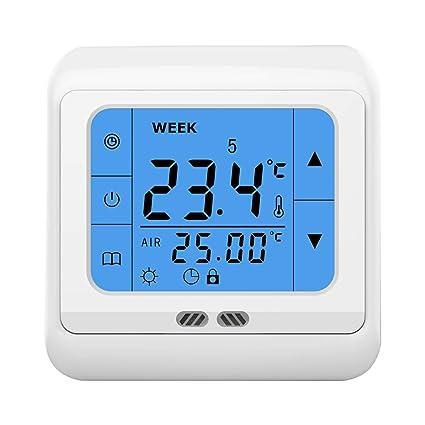 Tutmonda Termostato C07H 16A Pantalla táctil programable LCD verde Controlador de temperatura del contraluz 85-