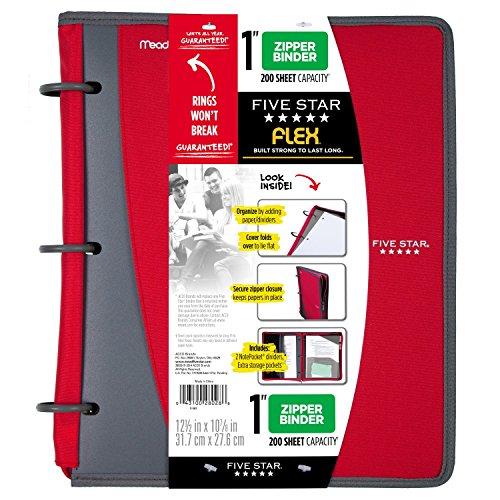 Five Star Flex Hybrid NoteBinder, 1 Inch Binder, Notebook and Binder All-in-One, Red (73414)