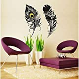 Decals Design 'Peacock Feathers' Wall Sticker (PVC Vinyl, 70 cm x 50 cm, Black)