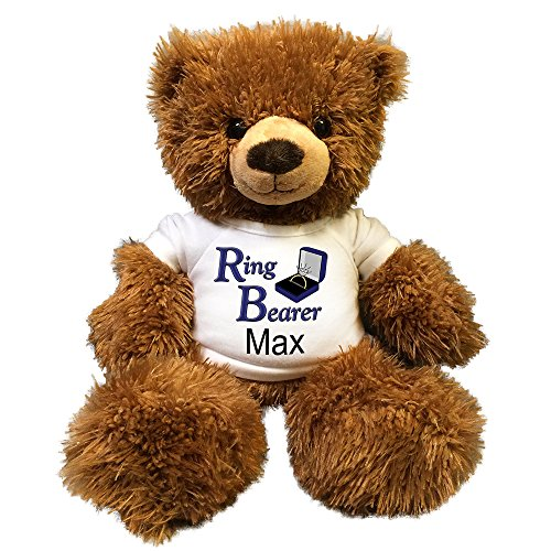Personalized Ring Bearer Teddy Bear - 14 inch Fuzzy Brown (Ring Bearer Bear)