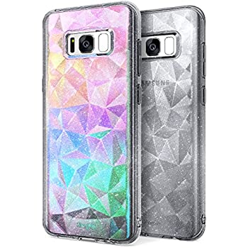 Galaxy S8 Case, Ringke [Air Prism Glitter Combo Pack][Holographic Deco Film] Sparkle 3D Stylish Pattern Full-body Textured Protective TPU Drop Resistant Cover For Samsung Galaxy S8 – Glitter Gray