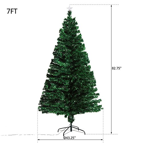 7' Artificial Holiday Fiber Optic / LED Light Up Christmas Tree w/ 8 Light Settings and Stand by HOMCOM (Image #4)