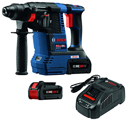 "Bosch GBH18V-26K24 18V EC Brushless 1"" SDS-plus Bulldog Rotary Hammer Kit with CORE18V 6.3 Ah Batteries"