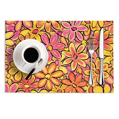 Quinnteens Washable Table Mats Multi Colored Daisy Flowers Aesthetic Image Non-Slip Insulation Placemat (2pcs placemats,12x18 inch)