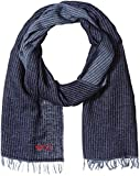 Armani Jeans Men's Cotton and Wool Scarf with Fringe Detail, Blue, One Size
