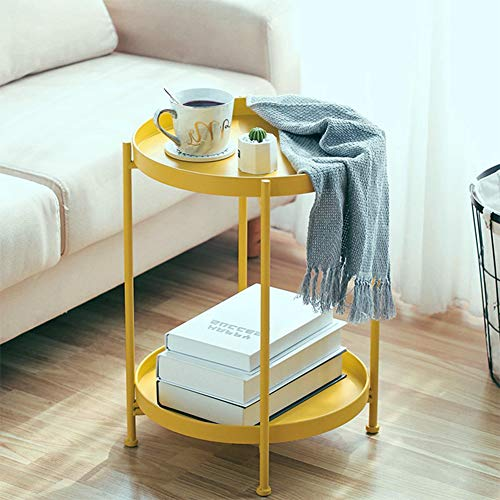 Solid Round Side End Table 2 Layer Sofa Table Metal Corner Coffee Snack Tray Table Snack Accent Table Anti-Rusty for Outdoor and Indoor Use Yellow