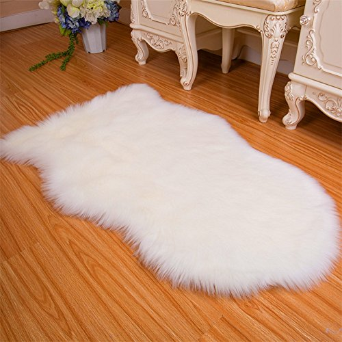 Soft Faux Fur Fake Sheepskin Area Rug Chair Cover Seat Pad Plain Shaggy Area Rugs For Bedroom Sofa Floor,35x59 Inch(3x5 Feet),White (Shaggy Chair)