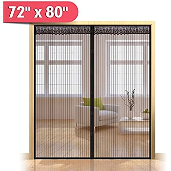 72\ (w) x 80\ (h) Hands Free Magnetic Screen Door  sc 1 st  Amazon.com & Magnetic Screen Door For French Doors Sliding Glass Doors Patio ...